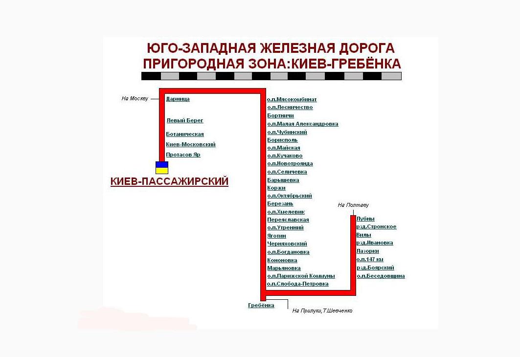 Маршрутная схема движения электропоездов Киев - Гребенка.